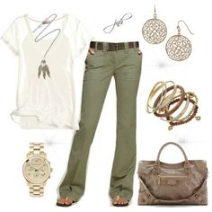 Olive colored jeans with a white top. Don't love the watch.