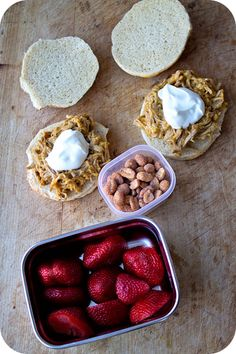 Easy lunch box ideas: two pulled pork sandwiches with butternut squash, onion and sour cream; strawberries; and honey roasted peanuts. http:...