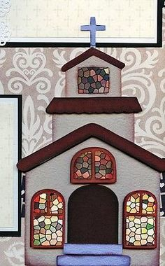 BAPTISM BABY GIRL  2 premade scrapbook pages paper piecing layout 4 album CHERRY