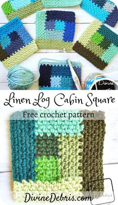 Learn how to make the Linen Log Cabin Square, a fun take on a classic design, from a free photo tutorial crochet pattern by Scrap Crochet, Crochet Quilt, Diy Crochet, Crochet Crafts, Crochet Projects, Tutorial Crochet, Crochet Curtains, Crochet Cushions, Crochet Blocks