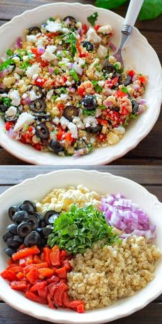 Healthy and so easy to make, this Mediterranean Quinoa Salad makes a perfect lunch or dinner. All the flavors of Mediterranean cuisine in one bowl! Cooktoria for more deliciousness! Mediterranean Quinoa Salad, Mediterranean Diet Recipes, Greek Quinoa Salad, Clean Eating Snacks, Healthy Eating, Lunch Healthy, Healthy Food, Quinoa Salat, Cooking Recipes