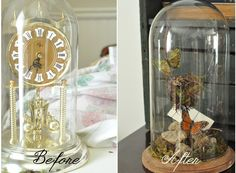 Make a cloche out of a thrift store clock case