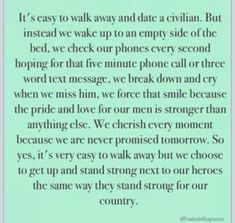 Military Deployment Quotes for Wives Air Force Girlfriend, Marines Girlfriend, Airforce Wife, Army Girlfriend Quotes, Army Boyfriend, Police Wife, Police Officer, Boyfriend Letters, Leo Wife