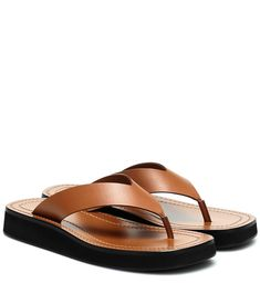 Brown Leather Sandals, Leather Espadrilles, Metallic Leather, Calf Leather, Toe Ring Sandals, Flip Flop Sandals, Toe Rings, Flip Flops, Shearling Slippers