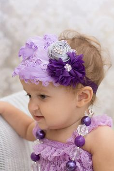 Purple and Silver Headband with Feather Pad and Rhinestones