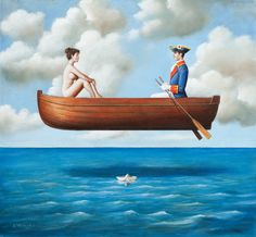 """In front of a painting, as in front of a beautiful woman, one must revel in wonder"" - Rafal Olbinski. - ""Poetic humor is a quality rarely found in the fine arts"" - says Andre Parinuad, President of the International Arts Salon in Paris. Surrealist Collage, Surrealism Painting, Painting Art, Surreal Artwork, Contemporary Artwork, Realism Art, Art Plastique, Art Sketches, Art Drawings"