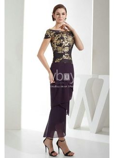 Ankle Length Unique Pattern Mother of the Bride Dress
