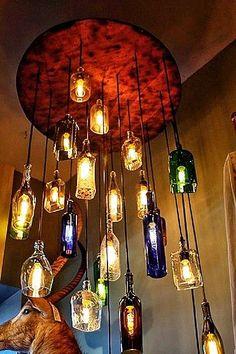 Just Custom Lighting - Listings View Salvaged Liquor Bottle Chandelier.   #handmadelighting #lighting #custom #lamps #homedecor