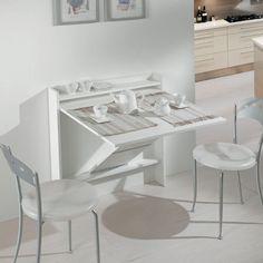 Maconi -Living consolle trasformabile bianco - 220 eu - Chiuso L 83 x P 13 x H 88 cm Aperto L 83 x P 82 x H 88 cm