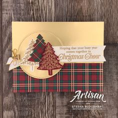 Stampin' Up! Wrapped in Plaid Suite Christmas Cards 2018, Simple Christmas Cards, Christmas Card Crafts, Homemade Christmas Cards, Kids Christmas, Handmade Christmas, Holiday Cards, Plaid Christmas, Christmas Scrapbook