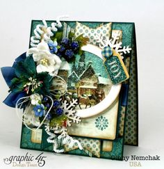 Blue Christmas Card Graphic 45  | Polly's Paper