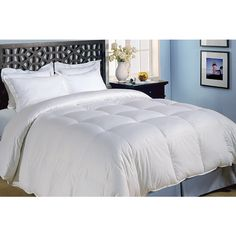 This luxurious down alternative comforter features a 240-thread count woven cotton shell. With end-to-end box stitch construction that keeps the fill evenly distributed, this hypoallergenic comforter is ideal for allergy sufferers.