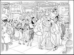 Off Broadway theatre audience intermission by Hirschfeld 1956