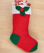 WR1561 Crochet Holly Stocking - free crochet pattern