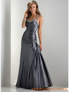 Silver Sheath Halter Beaded Taffeta Modest Prom Dress    black wing angel princess ball gown