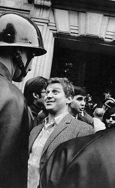 France in the 60s - Paris. Mai 1968. Daniel Cohen-Bendit speaking to the policeman