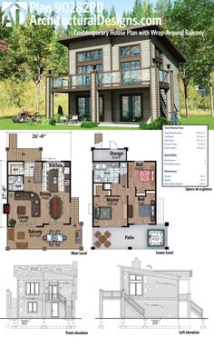 Architectural Designs Modern House Plan 90282PD has a wraparound balcony perfect for overlooking your rear-sloping lot. Ready when you are. Where do YOU want to build?