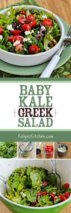 Baby Kale Greek Salad has all the Greek salad flavors you love with the health benefits of baby kale! [found on KalynsKitchen.com]