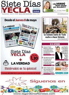 ya está disponible la portada del periodico local Siete dias Yecla y a partir de mañana en su versión impresa en todas las gasolineras y librerias de nuestra localidad