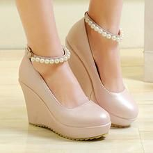 CITTA - Ankle-Strap Faux-Pearl Wedge Pumps