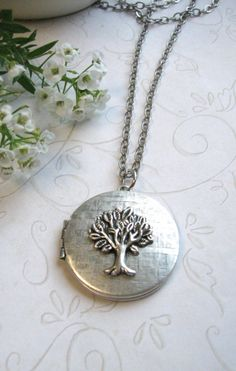 Silver tree locket necklace vintage silver locket