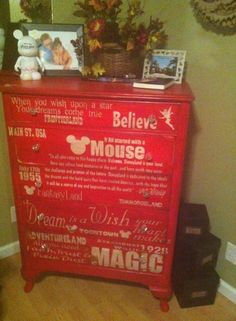 Fb user's own Disney decoration masterpiece - chest of drawers! Wow! (Source unknown)