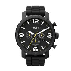 FOSSIL® Watch Styles Casual Watches:Men Nate Silicone Watch – Black JR1425 I just got on Thursday!! Then put an orange watch band on it.