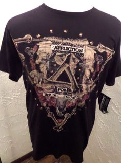 NWT Affliction Bound For Glory Studded Rivit T-Shirt Sz L Black #Affliction #GraphicTee