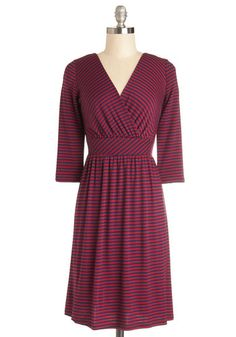 By the Piano Dress - Red, Blue, Stripes, Casual, A-line, 3/4 Sleeve, Good, V Neck, Jersey, Knit, Mid-length, Gifts Sale, Work