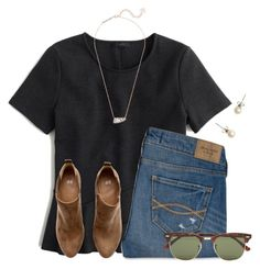 """t h u r s d a y"" by flroasburn ❤ liked on Polyvore featuring J.Crew, Abercrombie & Fitch, H&M, Kendra Scott and Ray-Ban"