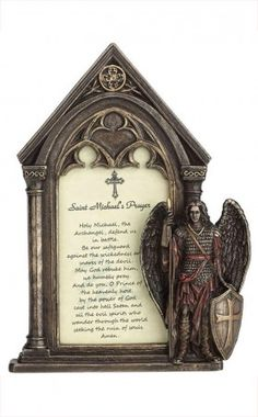 Buy Angel Photo Frames Here!  These beautiful Bronze angel frames with Archangel Michael standing guard width sword in have protect the Lord's Prayer. Order Online or Call - 1-800-417-9872 Today!