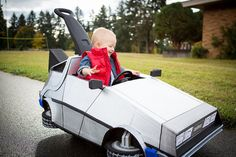 Halloween Ideas: Kid's Push-Car pimped into Time-Traveling DeLorean from Back to the Future
