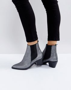 H by Hudson Leather Ankle Boots - Gray