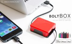 BoltBox Retractable Charger for iPhone 5/5s/5c - A retractable cable made for iPod/iPhone/iPad (MFI) in the Apple certified LightningTM connector for charging and data transfer cable.    link: