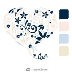 Navy, Custom Pink, Custom Blue, and Champagne Wedding Color Palette - free custom artwork created at MagnetStreet.com