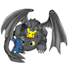 toothless ,pikachu and stitch by mdbruin.deviantart.com on @deviantART