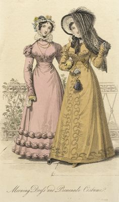December 1822, England - Fashion Plate by John Bell - Morning Dress and Promenade Costume