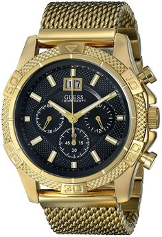 GUESS Men's U0205G1 Sporty Stainless Steel Multi-Function Watch with Chronograph Dial and Mesh Pilot Buckle * Check out the image by visiting the link.