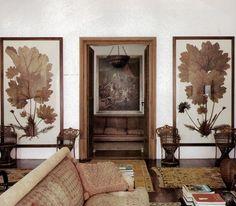 C'est la belle vie - Katherine Price Mondadori - House & Garden.... wonderful overscale sepia botanical prints in this monochromatic living room