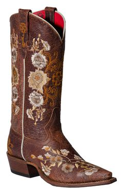 Anderson Bean Macie Bean Ladies Chocolate Brown with Floral Embroidery Snip Toe Boot