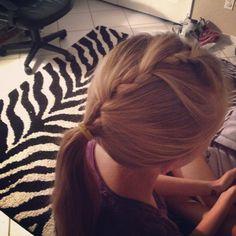 My hair:French braid pony