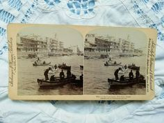 Antique stereo photo/stereoview Boats in the Suez Canal, Port Said Egypt Antique Photos, Vintage Photos, Port Said, Cat Toys, Photo Cards, Egypt, Boats, Vintage World Maps, Sayings