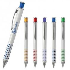 The Atlanta Advertising Pen - White retractible pen with a unique rubber plunger design and color dotted pattern