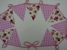 vintage style tea party bunting 2 meters party bunting hearts & rose with check