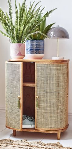 Decor, Furniture, Home Decor Inspiration, Rattan, Shelves, Curved Cabinets, Cabinet, Orange Cabinets, Music Decor