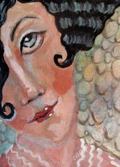 ACEO Woman Original Painting Portrait Drawing Doodle Boho Girl Roses Mini OOAK #ModernFolkArt