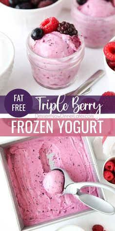 This Triple Berry Frozen Yogurt recipe is fat-free, only four ingredients, and just over 100 calories per serving. This soft-serve fro-yo churns in 10-15 minutes with your ice cream maker for a fresh, creamy, and fruity frozen dessert. Plus tips for making, freezing, and scooping frozen yogurt. Frozen Yogurt Recipes, Frozen Desserts, Fun Desserts, Healthy Desserts, Best Dessert Recipes, Holiday Recipes, Yogurt Dessert, Fro Yo, Winter Desserts