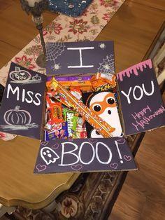 Gift baskets for boyfriend · halloween care package box more college care packages, care package Cute Boyfriend Gifts, Bf Gifts, Cute Gifts, Boyfriend Care Package, Boyfriend Gift Basket, Noel Gifts, Boyfriend Ideas, Diy Holiday Gifts, Halloween Gifts