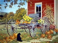 Pumpkins by the carriage on an autumn day...wondering what the cat is thinking?