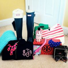 Tory Burch, vineyard vines, hunter boots, philosophy, and monograms. Can there be anymore perfectness in this?